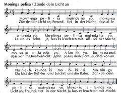 Beim Klick auf die Noten kann man nachhören, wie wir das Lied gelernt haben - durch Zuhören und Ausprobieren!