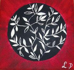 FLEURS ASIATIQUES - Réf. N° 42 - Réalisation: Acrylique - L.D - 20x20