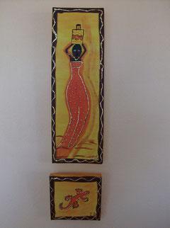 BELLE AFRICAINE - N° 5 - Réalisation: Acrylique - L.D - 10x30 + 5x5 - PRIX: 15 euros