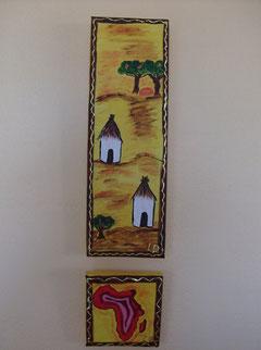 MINI VILLAGE AFRICAIN - N° 23 - Réalisation: Acrylique - L.D - 10x30 + 5x5 - PRIX: 15 euros