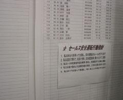 デジタコの点数表の下にも安全目標を掲示