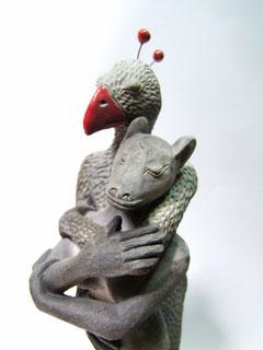scultpure en argile couple hybride