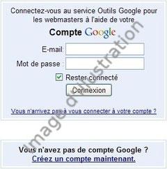 Connexion au service Google Outils Webmasters