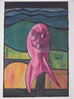 Maske, 2009, Acryl und Textilfarbe auf Leinwand 54x78