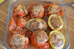 Tomate et Pommes de terre farcies
