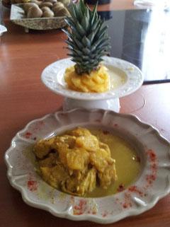 Papa poule (poulet ananas)