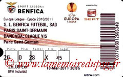 Ticket  Benfica-PSG  2010-11