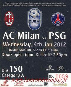 Ticket  Milan AC-PSG  2011-12