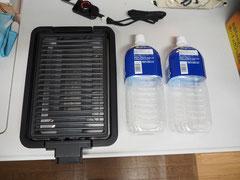 YAMAZEN 焼き肉グリル 本体写真 2Lペットボトルと大きさ比較