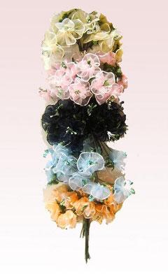 fiori in organza bordati 12 pz € 2,00