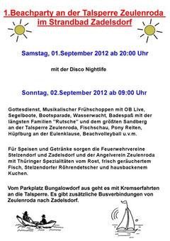 Beachparty Talsperre Zeulenroda 01.09.2012.