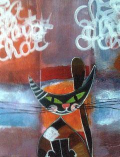 peinture de chat sur toile