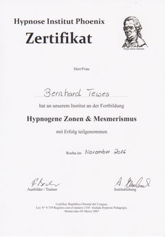 Zertifikat Hypnogege Zonen Mesmerismus