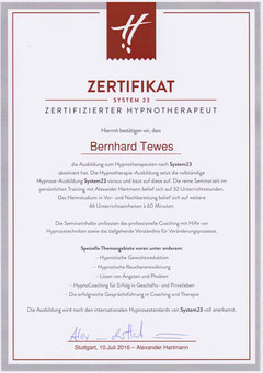Zertifikat Hypnotherapie System23