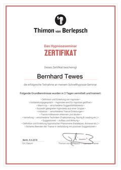 """Zertifikat """"Schnellhypnose"""", Thimon von Berlepsch"""