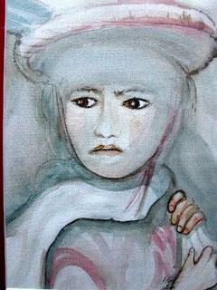 Portrait de jeune fille, aquarelle. D.Petit