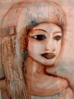Souvenir d'Egypte, aquarelle. D.Petit
