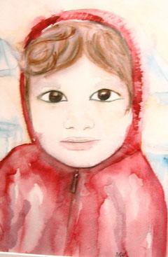 Enfant au manteau rouge, aquarelle.D.Petit