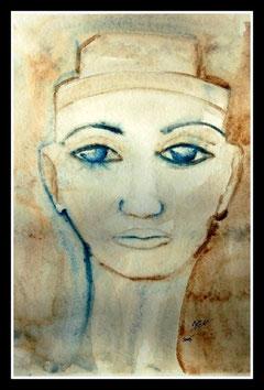 Nefertiti, aquarelle. D.Petit