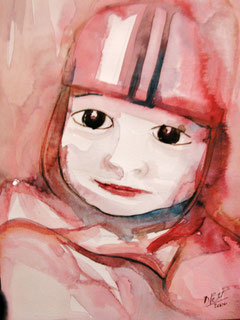 Portrait d'enfant, aquarelle.D.Petit