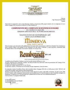 """Nomina ufficiale del conferimento a Componente del Comitato Scientifico d'Onore per l'evento Premio Internazionale d'Arte """" Minerva, Dea di tutte le Arti """""""