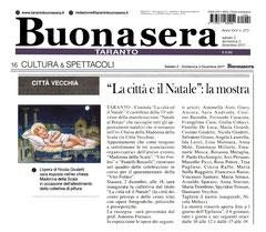 """Articolo del quotidiano """"Buonasera Taranto"""" del 2 dicembre 2017"""