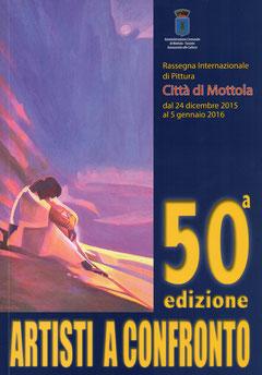 """Copertina catalogo """" Artisti a confronto """" 50^ edizione."""
