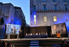 Il palco allestito per la premiazione  all'interno dell'Anfiteatro Romano. ( Italphoto Mesagne )