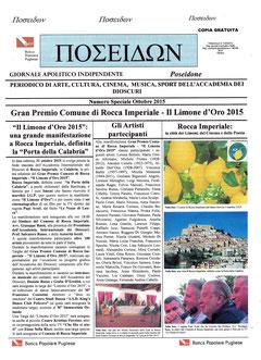 """Articolo del sul mensile """" Poseidone """" del mese di ottobre 2015."""
