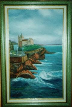 vue de Biarritz rochers et mer agitée