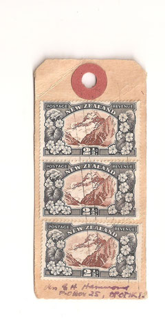 Small parcel Tag with two strips of three 2 1/2d. Address to Opotoki.