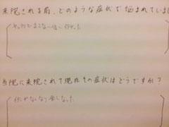 奈良県御所市の脊柱管狭窄症整体の感想