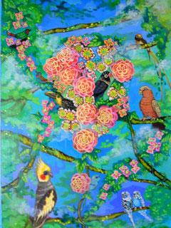 晴れやかな時 絵画 楽園のアート 立花雪 YukiTachibana 2号(約ポストカード2枚大)