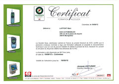 Certificat de formation Ethylotest Alcolock