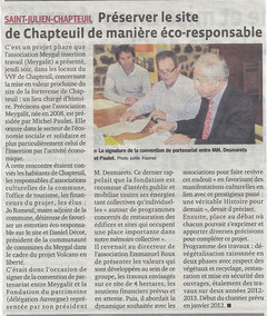 Article de presse Le Progrès - La Tribune du 27/11/2011