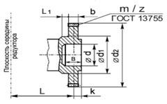 Редукторы типа 1Ц2У-160, 1Ц2У-200, 1Ц2У-250 цилиндрические горизонтальные одноступенчатые.Исполнение конца выходного (тихоходного) вала в виде зубчатой полумуфты.