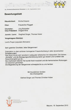 Bewertungsblatt Bundessängerfest, 2010