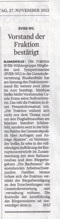 MAZ/Zossener Rundschau 27.11.2012