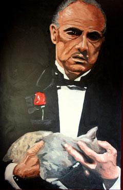 Mistkerl mit Katze, Öl auf Maltuch 120cm x 100 cm