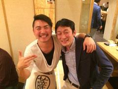 懇親会での久保さんと大川さん