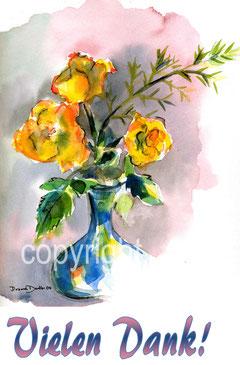 gelbe Rosen und Dank