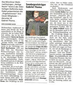 Münchner Weihnachtssingen Heilige Nacht - Festabend am 15.12.2011; Merkur vom 17.12.2011