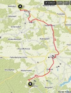 Übersichtskarte Golßen- Walddrehna