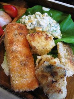 牡蠣、ホタテ、サーモンのパン粉ソテー&タルタル