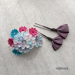 つまみ細工 髪飾り パステルカラーの花束2