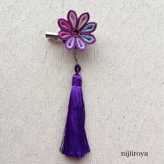 つまみ細工 剣つまみタッセル付き2wayクリップ 紫