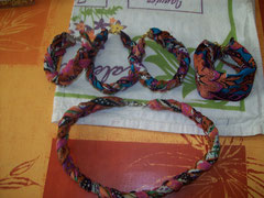 Collier et bracelets en tissu indien