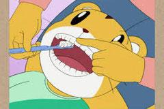 しまじろうも上手に磨いてもらってます。  でも磨いてるのは歯の裏??