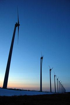 高い設備利用率を誇り、観光名所にもなっている北海道幌延町のオトンルイ風力発電所  Photo by *nog
