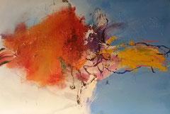 """Martin van Dijk """"Coastline zwemmen"""" Mixed Media op doek 150 x 100 cm"""